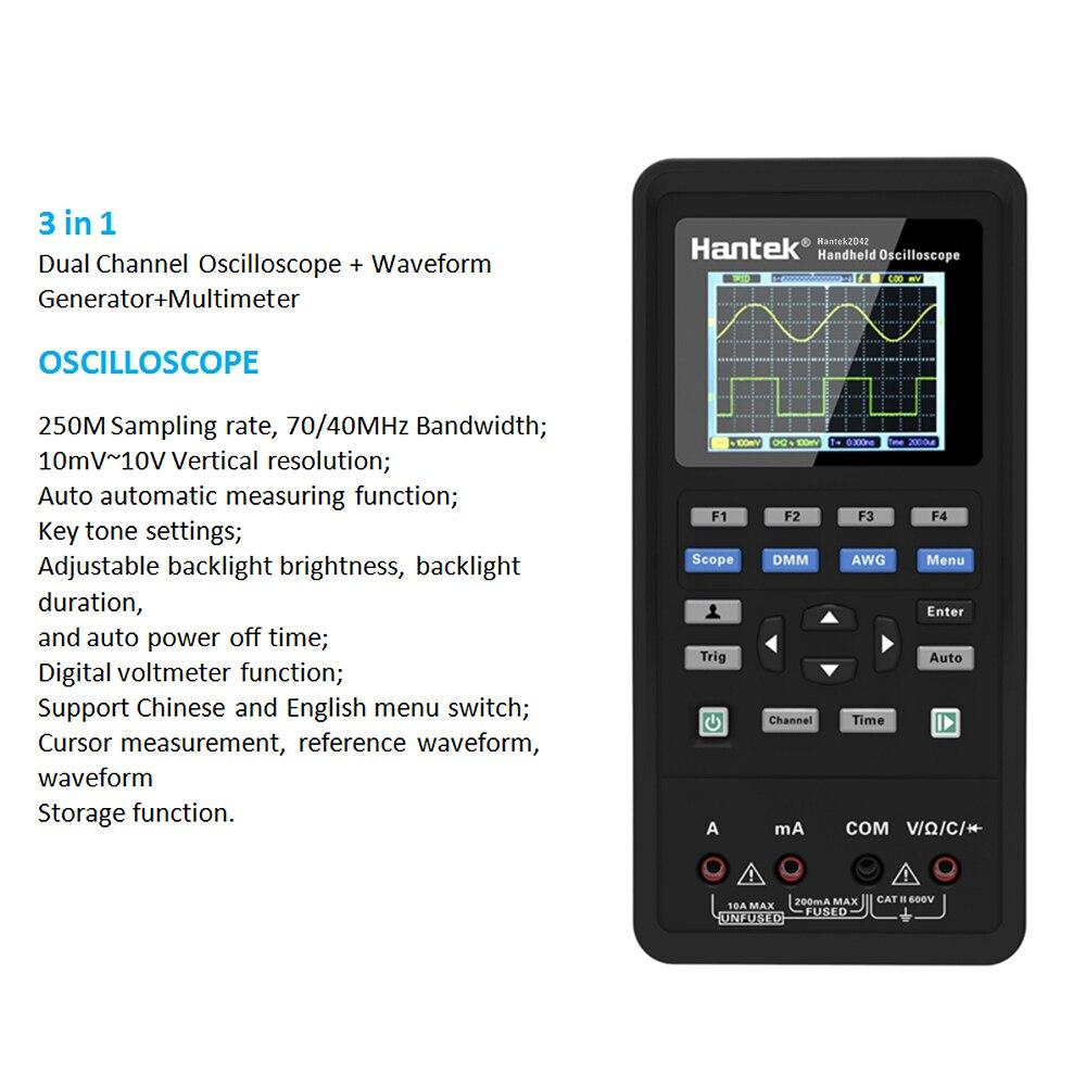 Handheld 3 in 1 Digital Oscilloscope Waveform Generator Multimeter Single Dual channel USB Scopemeter Scope Meter With Probe