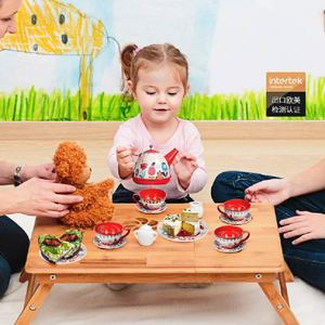 Image 2 - 14PCS קומקום ספל תה בריטי סגנון אחר הצהריים תה Tinplate צעצועי ילדים מטבח ילדים תה סט צעצועי להעמיד פנים לשחק צעצועי עבור ילדה