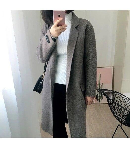 2018 סתיו נשים אופנה צמר קשמיר מעיל