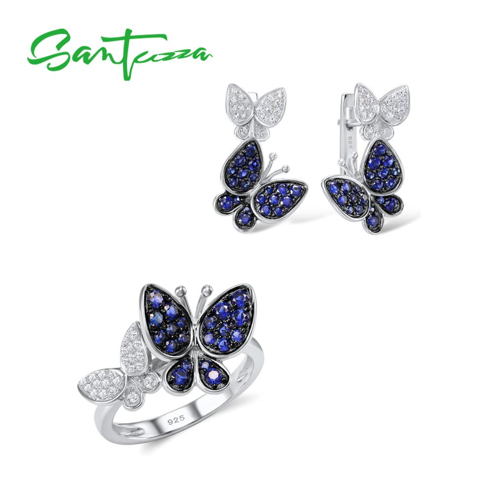 SANTUZZA Jewelry Set For Women Genuine 925 Sterling Silver Gorgeous Blue Butterfly Earrings Ring Set Shiny CZ Fashion Jewelry