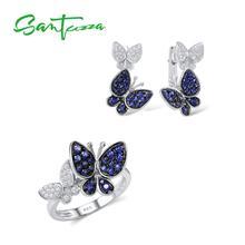 Santuzzaジュエリーセット女性のための本物の925スターリングシルバーゴージャスなブルー蝶イヤリングリングセット光沢のあるczファッションジュエリー