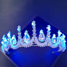 12 Styles Glowing Tiaras Rhinestone Crystal Pearl Wedding Bride Crowns with Blue LED Light