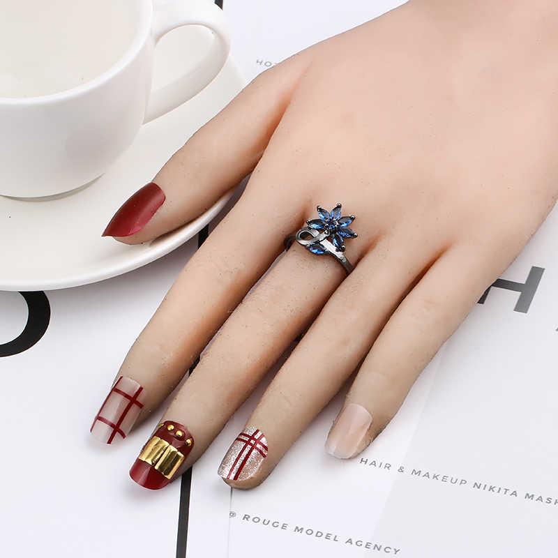 ดอกไม้แหวน Cubic Zirconia Silver ปืนสีดำสำหรับแหวน aneis feminino แหวน anillos เครื่องประดับ