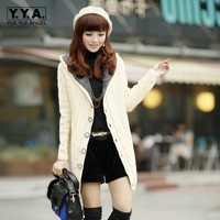 Spring Korean Womens Winter Hooded Mid Long Thicken Sweater Female Warm Cardigan Slim Fit Coat Warm