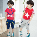 Costume child clothing summer male female child five-star smiley set 100% short-sleeve cotton shorts twinset