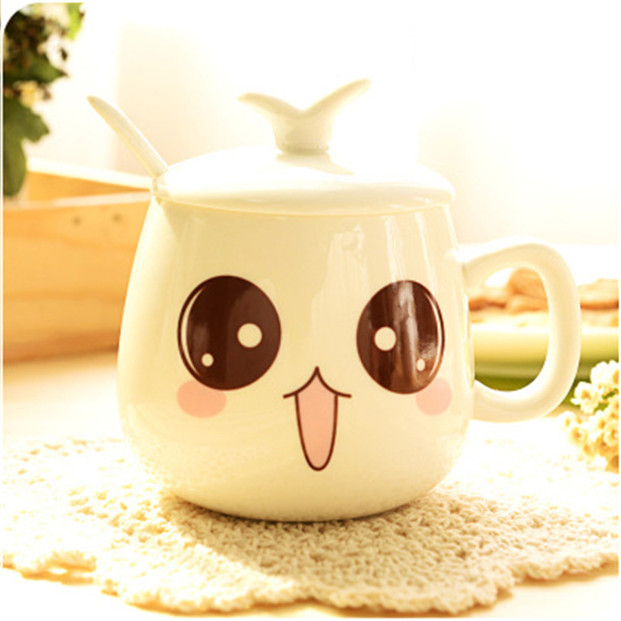 Geramic Drinkware With Lid milk cups Special Design Cute Looking coffee cup Plain Gift For Friends Tea cup With Spoon Sweety