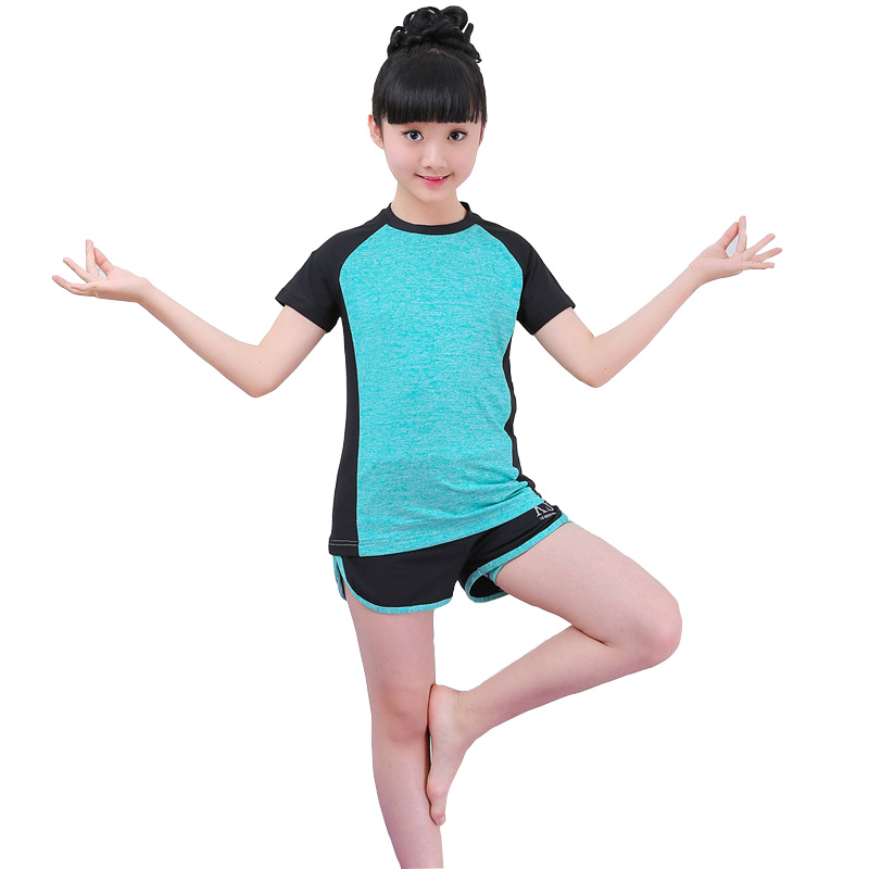 2018 Summer Children Clothing Set Short Sleeve Tops +Shorts Girls Sport Suit Fitness Yoga Teenage Girls Tracksuit Set DQ860