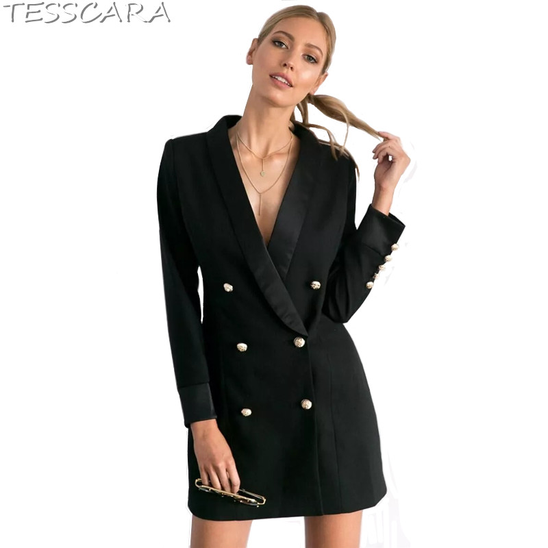 TESSCARA Women Autumn Fashion Ladies Blazer Female Office Jacket Coat Black Suits &blazer Long Basic Jackets Outerwear & Coats