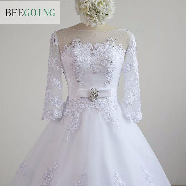 Tienda Online Blanco Encaje tulle 3/4 mangas vestido de bola capilla ...