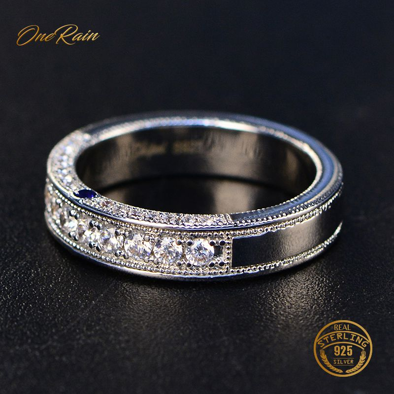 OneRain Elegant 100% 925 Sterling Silver Sapphire White Topaz Wedding Engagement Cocktaill Ring Jewelry For Women Men Wholesale