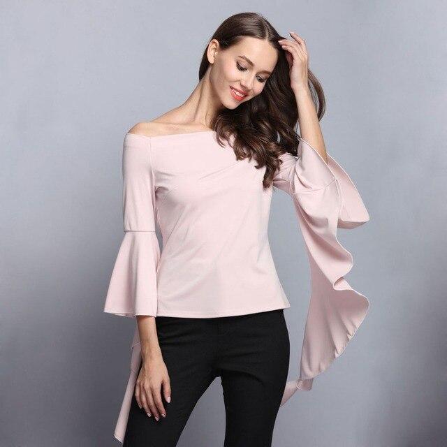 2017 spring new design women off shoulder flare sleeves tops black apricot  color slash neck women