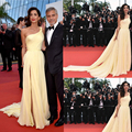Amal Clooney Cannes Festive 2016 Celebrity Dresses Yellow One Shoulder Pleats Side Slit Red Carpet Dresses Chiffon