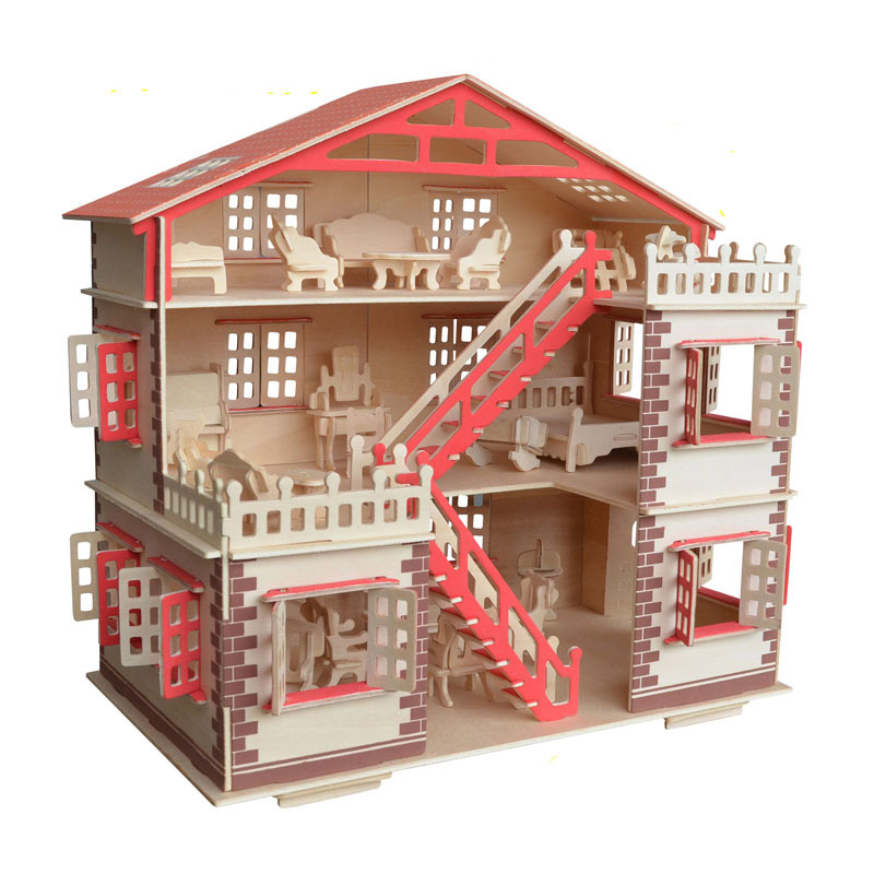 Wooden DIY Dollhouse Miniature Furniture Toy For Dolls Assembled Dolls House Pretend Play Puzzle Toys For Children Girls Kids