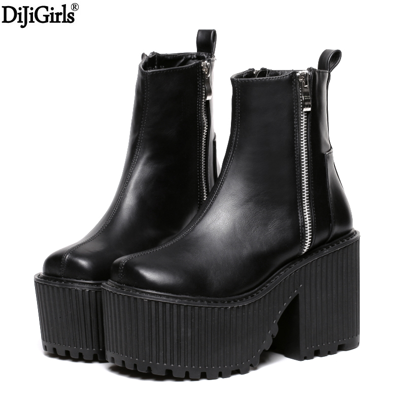 Botines Tacon Mujer Black /White Platform Boots Punk Rock Motorcycle Boots Zipper Chunky Ankle Boots High Heel Martin  BootsBotines Tacon Mujer Black /White Platform Boots Punk Rock Motorcycle Boots Zipper Chunky Ankle Boots High Heel Martin  Boots
