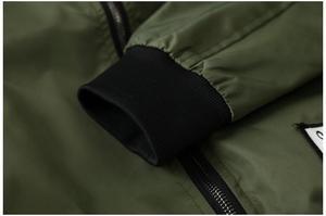 Image 4 - Grandwish/куртка бомбер для мужчин, пилот с заплатками, зеленая, Двусторонняя одежда, тонкий пилот бомбер, Мужская ветровка, куртка для мужчин, DA113
