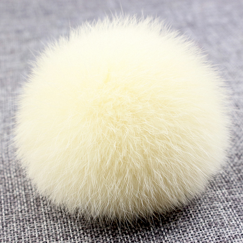 8cm Nature Genuine Rex Rabbit Fur Ball Pom Pom Fluffy DIY Winter Hat   Skullies     Beanies   Knitted Cap Pompoms TKF001-beige