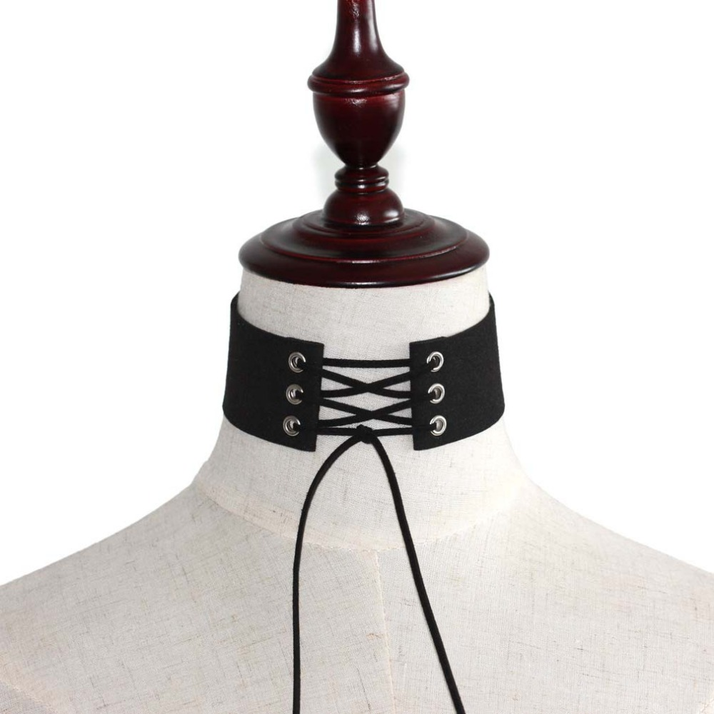 Кружевной Черный Бархатный чокер, ожерелье для женщин, Чокеры в готическом стиле украшения Бохо на шею, Харадзюку, большое короткое ожерель...