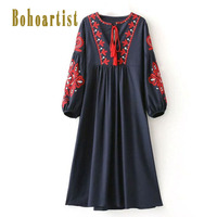 Bohoartist Women Bohemian Day Dress Spring Floral Print A Line Empire O Neck Embroidery Boho Dress
