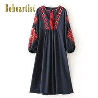 Bohoartist Women Bohemian Day Dress Spring Floral Print A Line Empire O Neck Embroidery Boho Dress