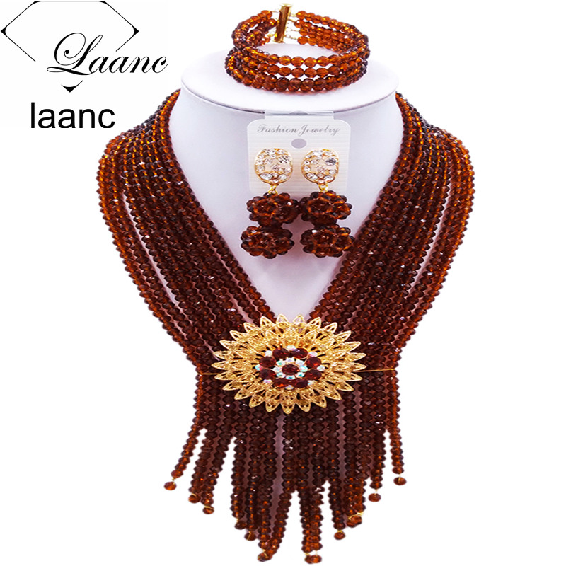 Laanc Brown Crystal Beads Bridal Jewelry Sets African Beaded Jewelry Set Nigerian Wedding Necklace S8RSK015Laanc Brown Crystal Beads Bridal Jewelry Sets African Beaded Jewelry Set Nigerian Wedding Necklace S8RSK015