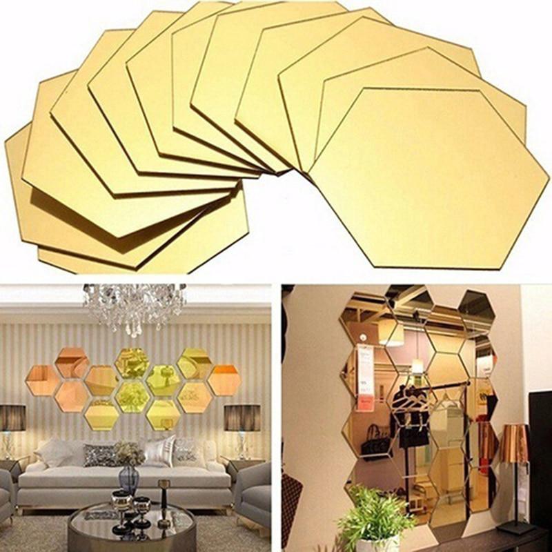 New 12pcs/set 3D Hexagon Acrylic Mirror Surface Wall Stickers Home Decor Mirrored Decorative Art Mural Self-adhesive Autocollant