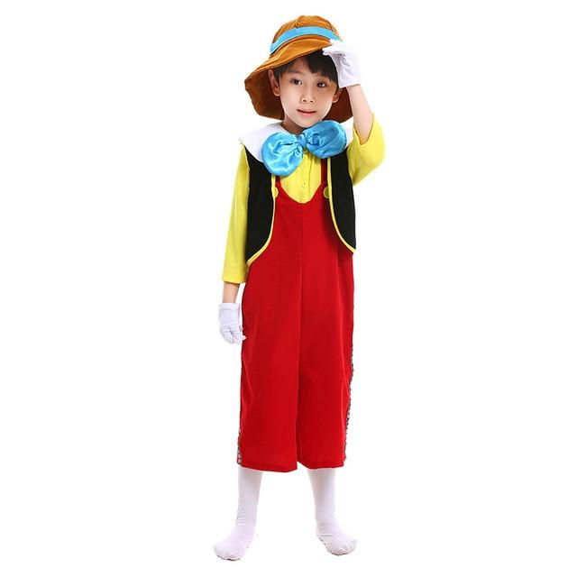 cb32c85eb Child 2017 The Adventures of Pinocchio Deluxe Cosplay Costume Boys  Halloween Fun Suit