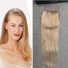 Full Shine  Brazilian Straight Remy Hair lace Closure with Bleached Knots #27 Honey Blonde Free Part 4*4 7a Best Remy Human Hair