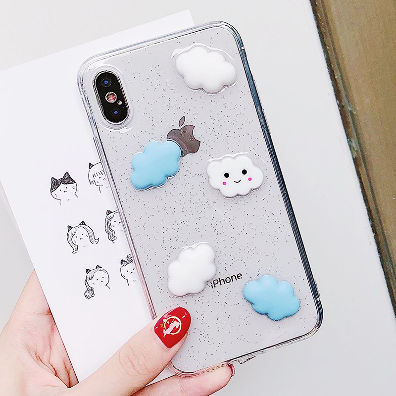 Lewinsky Cute Cartoon 3D White Clouds Phone Case For iPhone 7 Plus Transparent Soft TPU Cases Clear Cover For iPhone 8 6 6s 7 Plus X (4)