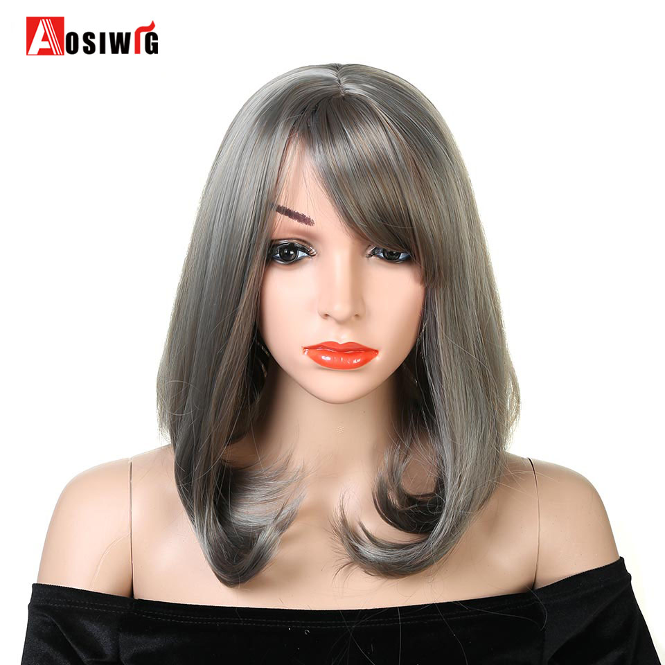 AOSI WIG Medium Straight Bob Wig Light Grey Wig For Women High Temperature Fiber Synthetic Hair Wigs With Air Bangs