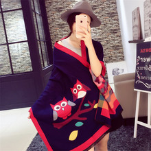 2015 Winter Autumn scarf Knit oversize Cartoon tartan stole Designer Women Bandana Acrylic scarf shawl 185x68cm wrap