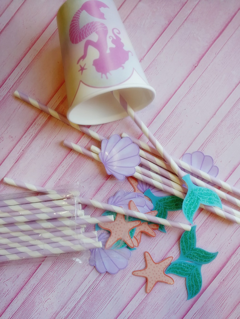 Mermaids Straw 21PCS Paper Straws Birthday Party Festive Supplies Decoration Under the Sea Paper Drinking Straws