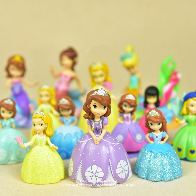 Disney Sofia the First Princess 6-9cm Q version Action Figure Anime Mini doll Collection Figurine Toy model for children gift figurine