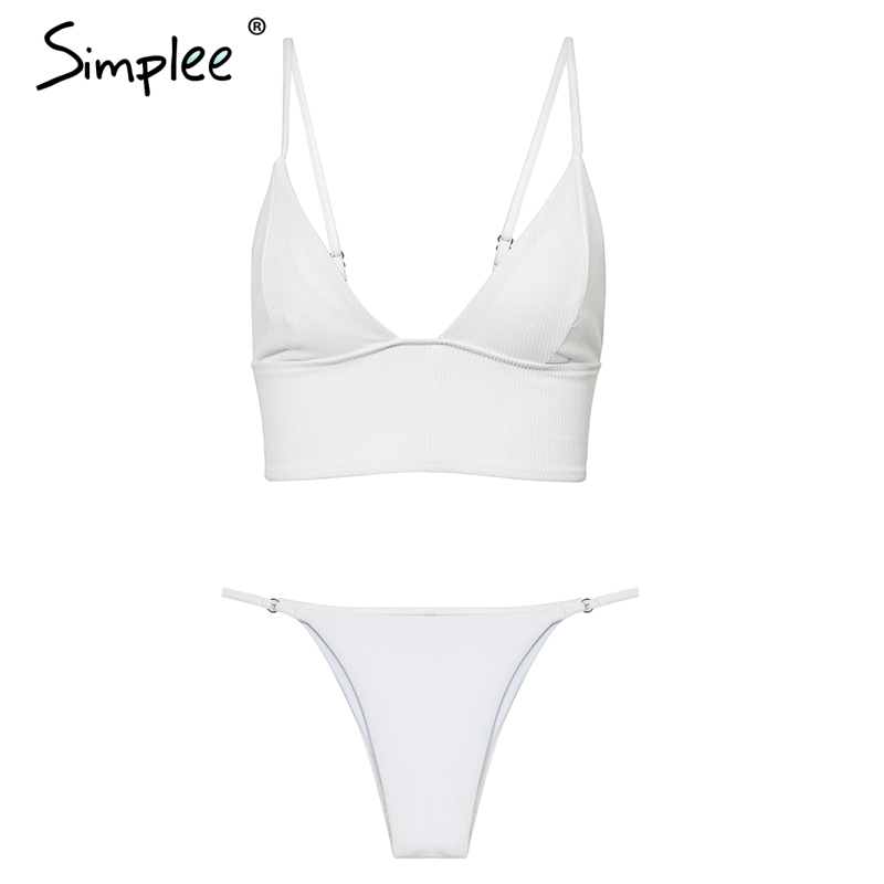 Simplee Push white bra sets Fashion lace thin underwear intimates women Sexy adjustable strap crop top padded lingerie
