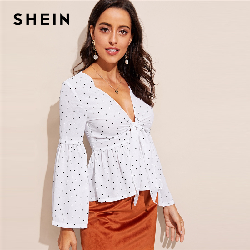 SHEIN Sexy White Plunging Neck Bell Sleeve Slim Fit Top Blouse Women's Shein Collection