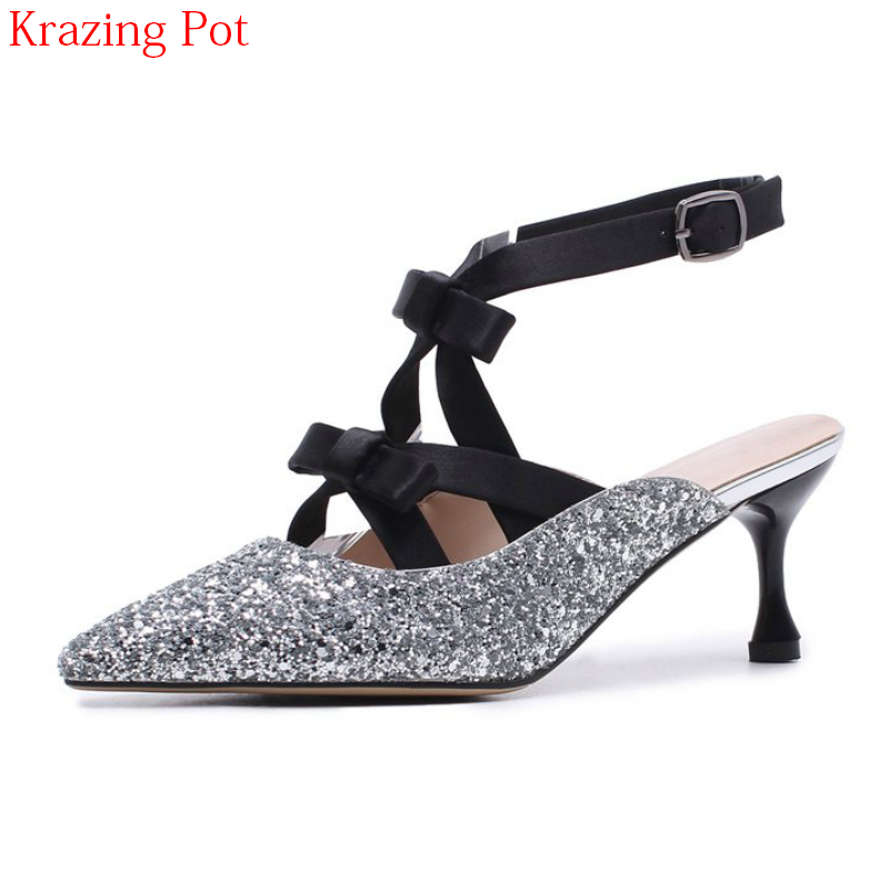 2018 New Arrival Slingbacks Ankle Straps Pointed Toe Summer Shoes Wedding Thin High Heels Sweet Bling Elegant Women Pumps L09 new hollow pointed stiletto elegant spring summer women pumps sweet bowknot high heeled shoes thin pink high heel shoes k88
