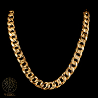 Punk Chunky Figaro Link Chain Men Necklace Titanium Personalized Gold Cuban Biker Masculine Chain Necklace