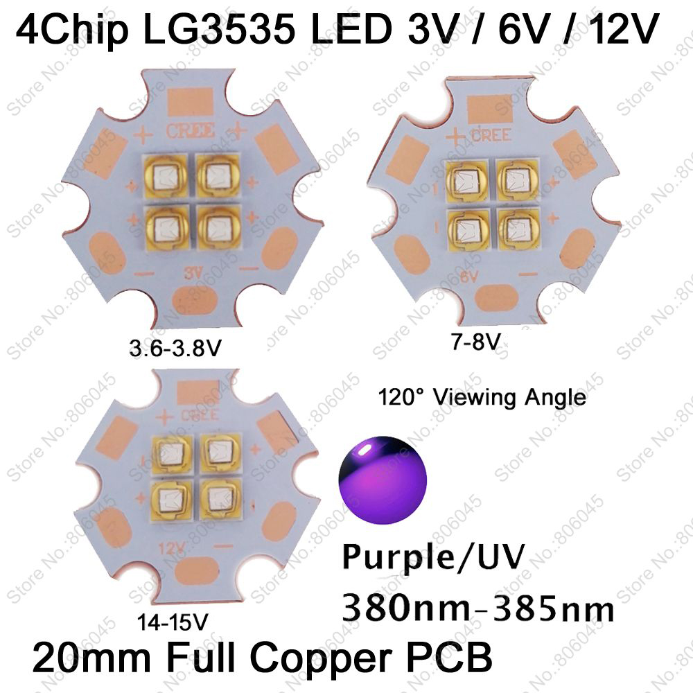 LG3535 3V 7V 14V 4Chip 10W High Power LED Emitter UV Ultraviolet 380nm - 385nm 120 Degree Viewing Angle on 20mm Copper PCB 5pcs lot pure copper broken groove memory mos radiator fin raspberry pi chip notebook radiator 14 14 4 0mm copper heatsink