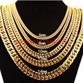 6/8/10/12/14/17mm Gold Plated Stainless Steel Cuban Curb Link Chain Bracelet/Necklace For Charm Men Xmas Gift 7-40inch