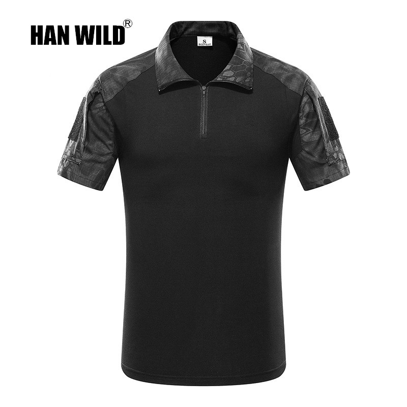 HAN WILD Tactical Camouflage Men Army Combat POLO Shirt Rapid Assault ACU MultiCam Mens Tops Tees