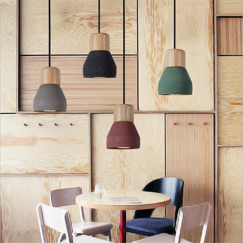 Well-liked Vintage Creative Fashion 4 Colors Cement Wood Led E27 Pendant  KY52