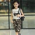 new 2015 summer fashion chiffon cat print vest t shits+leopard pants 2pcs baby girl clothes suit 2~7 age children clothing set