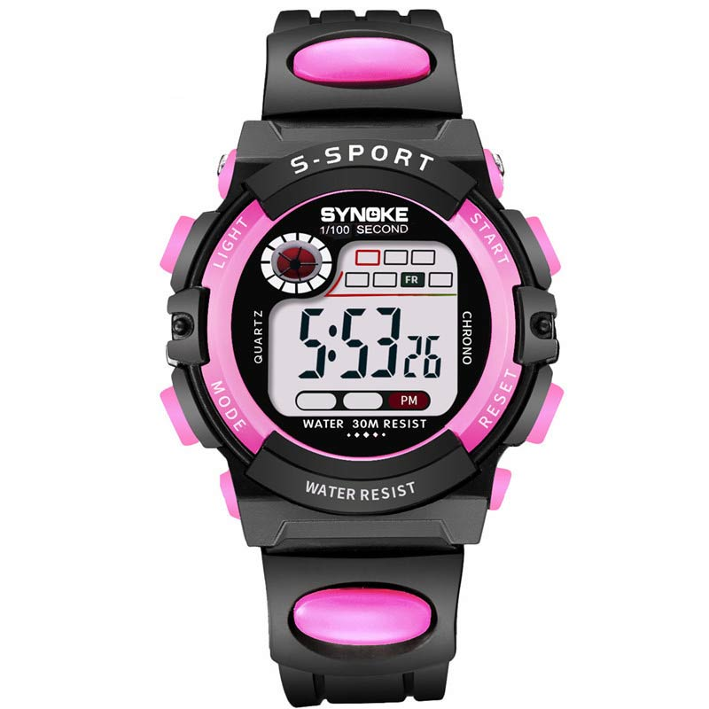 Kids Waterproof Digital LED Luminous Watch Alarm Date Sports Rubber Band Wristwatch LL@17