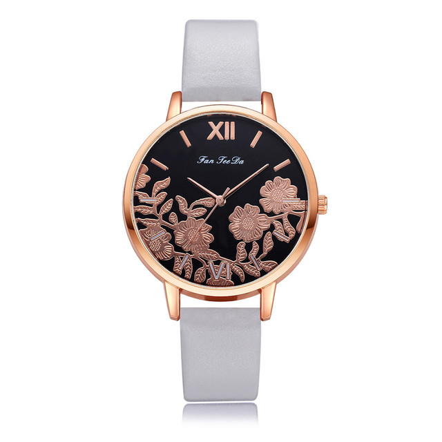 2018 New Luxury Fashion Leather Band Analog Quartz Round Wrist Watch Watches Wom