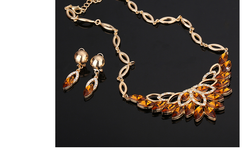 Fashion Jewelry Sets African Costume Wedding Jewellery Sets For Women Vintage Nigerian Beads Necklace Jewelry Set (5)