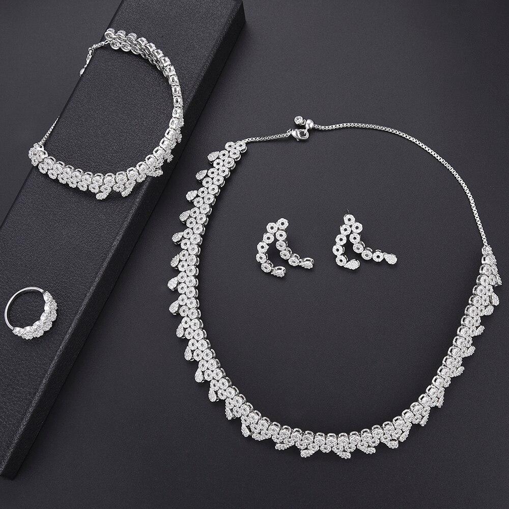 Ensembles de bijoux de mariage de mariée de mode argent zircon cubique collier boucles d'oreilles bracelet bague ensemble pour les femmes fiançailles mariage