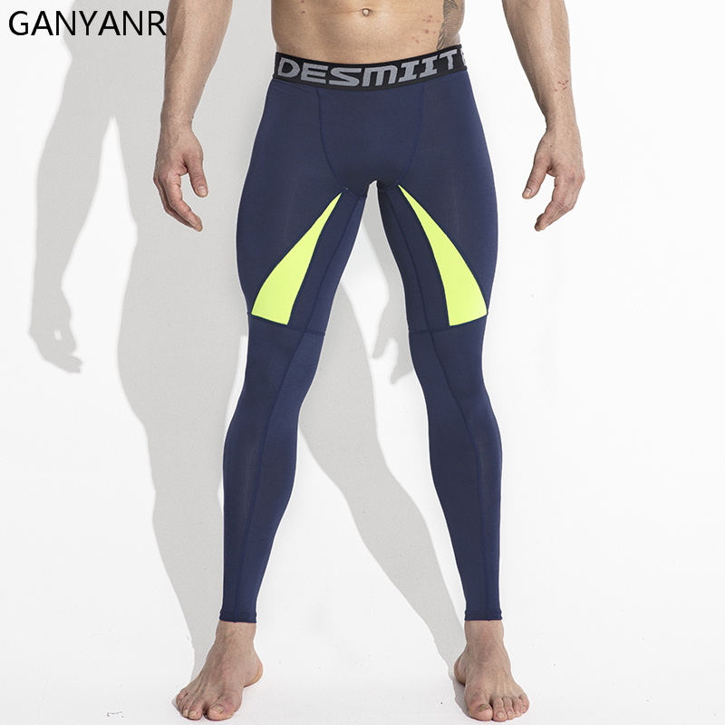 GANYANR Brand Running Tights Men Yoga Pants Sports Leggings Fitness Spandex Long Trousers Basketball Compression Training Gym цена