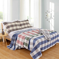 Soft Cotton Wrinkle Fade and Stain Resistant Durable Full Bed Flat Sheet King Set Throw Blanket for Children Baby