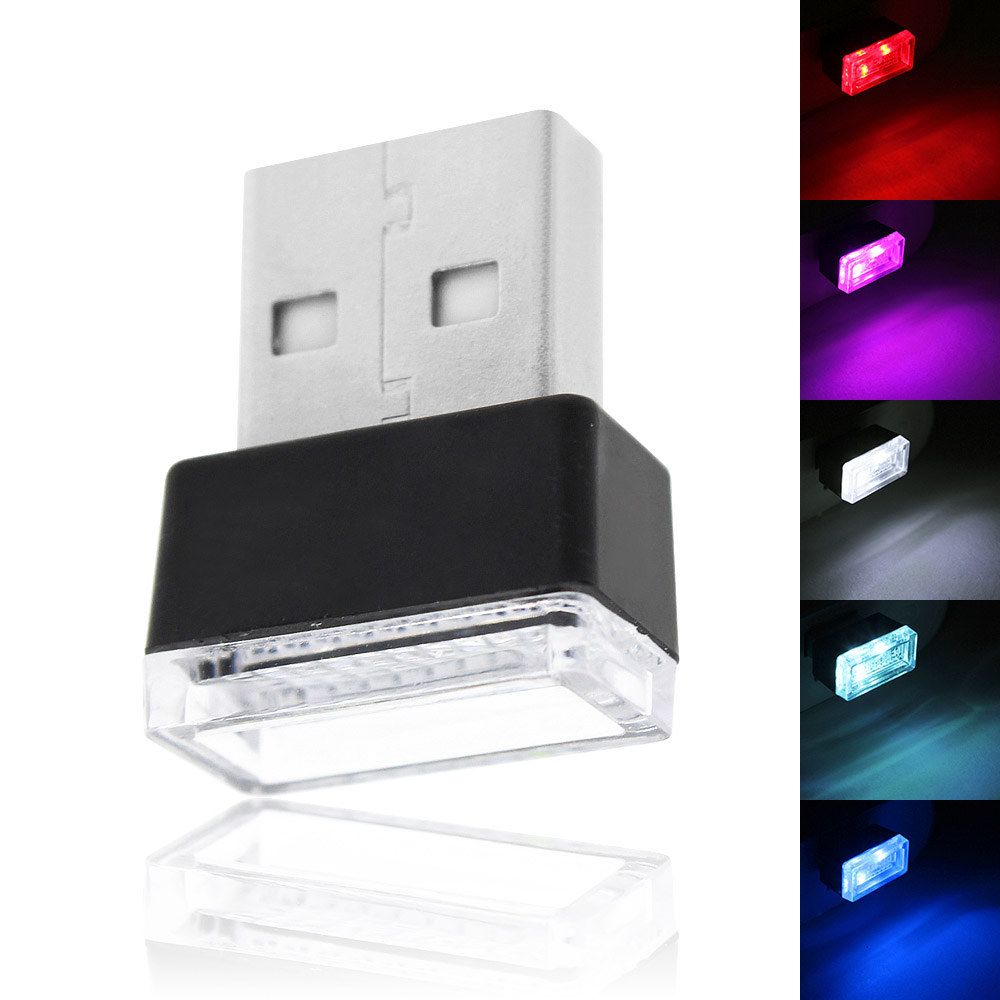 USB Mini LED Atmosphere Light Night Lights 5 Colors Decorative Lamp For Car Laptop Power Bank Notebook