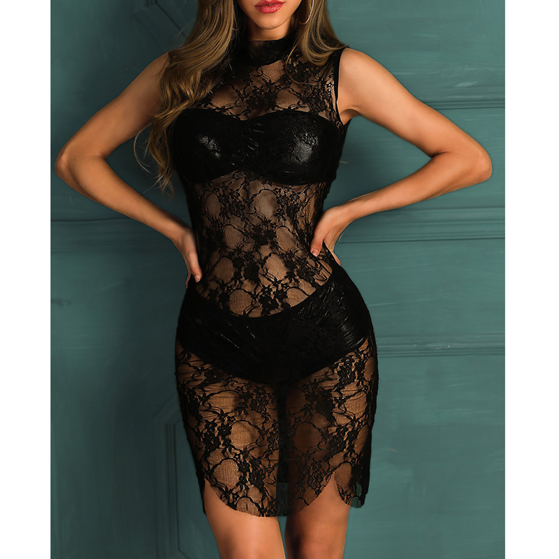 Women Summer <font><b>Sexy</b></font> Lace See Through Sleeveless <font><b>Mini</b></font> Short <font><b>Dress</b></font> Ladies Beach <font><b>Wear</b></font> Bikini Cover Up Solid Crochet 2019 New image
