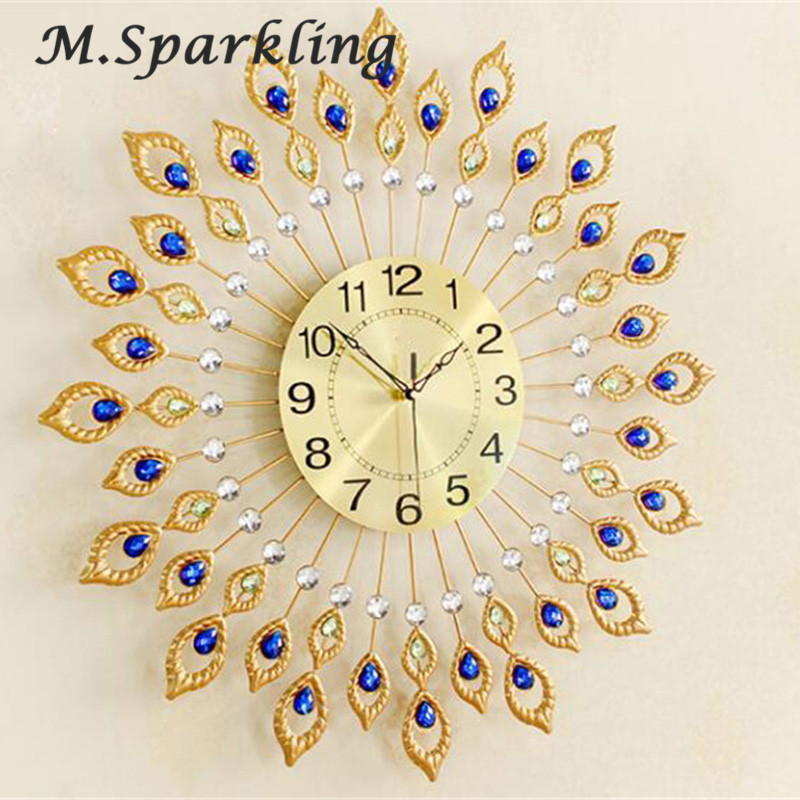 M.Sparkling 3D Creatively Peacock Diamond Brief Modern Design Clock DIY Clocks On Wall Kitchen Clock Living Room Home Decor